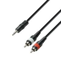Adam hall K3YWCC0300 | Cable de Audio de Minijack 3,5 mm estéreo a 2 RCA macho 3 m