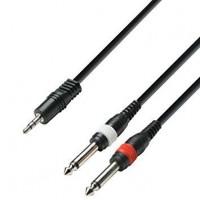 ADAM HALL K3YWPP0300   Cable de Audio de Minijack 3,5 mm estéreo a 2 Jacks 6,3 mm mono 3 m
